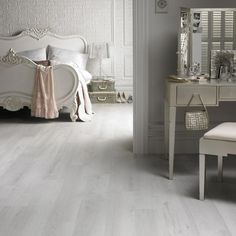 Karndean Van Gogh White Washed Oak Vinyl Flooring offers a really contemporary, clean whitewashed look. Add a dash of colour for a contrasting space, or keep things monotone to really make a statement. White Wash Wood Floors, White Vinyl Flooring, Grey Wooden Floor, Bedroom Wooden Floor, White Washed Oak, Tile Bedroom, Luxury Vinyl Flooring, Bedroom Flooring, White Oak