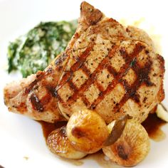 Nibble Me This: Grilled Pork Chops with Honey Glazed Cippolini