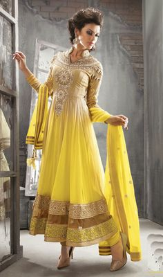 Yellow and Beige Georgette Long Length Anarkali Churidar Suit Price: Usa Dollar $159, British UK Pound £93, Euro117, Canada CA$171 , Indian Rs8586.