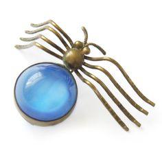 Vintage Art Deco Blue Satin Glass Metal Spider Pin Brooch | Clarice Jewellery | Vintage Costume Jewellery