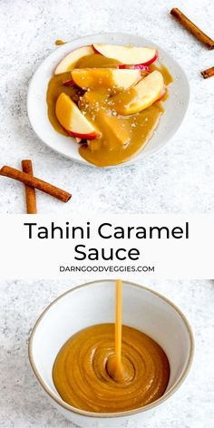 Healthy Tahini Caramel Sauce! A five minute no-cook caramel that is sweet, creamy, and decadent. A dairy free sauce perfect for apples, ice cream, and more! Perfect with a pinch of flaky salt!