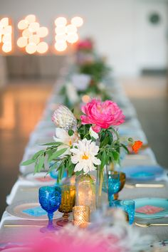 Whimsical Desert Wedding in Palm Springs Best Wedding Venues, Wedding Events, Centerpiece Decorations, Wedding Decorations, Tropical Wedding Centerpieces, Wedding 2015, Wedding Ideas, Spring Wedding Inspiration, Bright Flowers