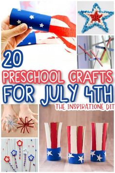 The 4th of July is coming up soon so why not find some awesome crafts to entertain your kids with! These preschool crafts from the Inspiration Edit are so fun, patriotic, and perfect to make for July 4th. Try some of these easy crafts with your kids this summer! Craft Projects For Kids, Easy Crafts For Kids, Diy For Kids, Fun Arts And Crafts, Fun Crafts, Holiday Crafts, Thumbprint Crafts, 4th July Crafts, Toilet Roll Craft