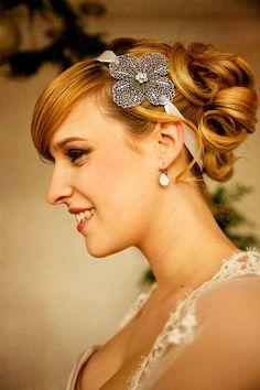 Headband Clara Fleur métalisée Argent par SautoirEtPoudrier