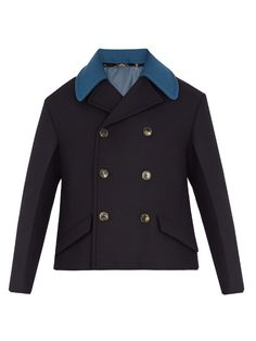 Valentino Detachable-collar double-breasted wool pea coat