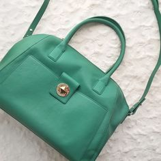 "Kate Spade Chrystie Street Large Catalina WKRU2584 Classy kate spade bag in a gorgeous shade of green. Top handle 7"" drop, optional shoulder strap. Zip top closure. Front compartment with turn lock closure. Interior zipper pocket and double slide pockets. Leather body and trim, poly twill lining, 14-karat gold plated hardware. 11""H x 15""W x 4.5""D. Great for light traveling! NO TRADES, NO PAYPAL. PRICE FIRM. kate spade Bags"