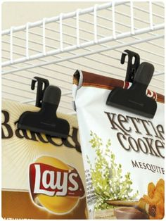 Hanging Chip Clips via Somewhat SImple and other great kitchen organization ideas