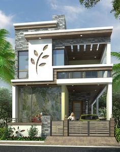 modern house front elevation designs - Her Crochet House Design 3d, House Front Design, Door Design, Front Elevation Designs, House Elevation, Building Elevation, Architecture Design, Indian Architecture, Stairs Architecture