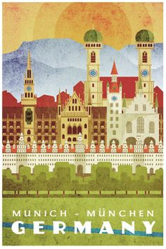 Germany Munich Vintage style travel prints posters
