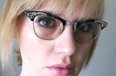 In search of Unique Reading glasses...Vintage 50's Shuron 12K Black and Silver Cat Eye by Sorocco