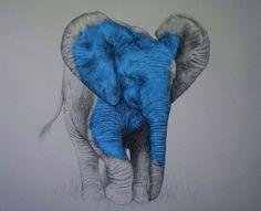 Gray and blue elephant art