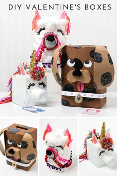 Create your own DIY Valentine's Box with Mod Podge! Make the Llama, Unicorn, and Puppy! #valentinesday #diyvalentines #modpodge