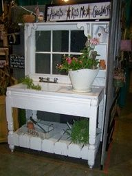 potting bench made from old doors | Potting Bench antique cast iron sink salvaged window.