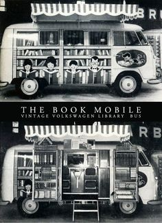 This might be the bookmobile of all bookmobiles!  A VW bus transformed into library!