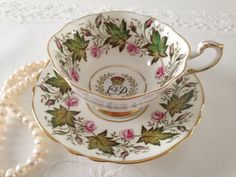 Vintage Paragon china tea cup and saucer, made in England. A beautiful cabinet duo to commemorate the coronation of Queen Elizabeth II June