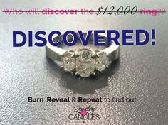 **$12K DIAMOND RING DISCOVERED!!** The GRAND PRIZE $12,000 RING hidden inside our Love Me or Love Me Not candle has been found!! What will YOU discover??
