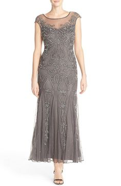 Womens Pisarro Nights Illusion Neck Beaded A-Line Gown Size 16 - Grey $189.00 AT vintagedancer.com