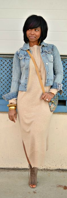 Throw a denim jacket over your sweater dress for a casual cool vibe. Add your favorite jewelry to complete the look.