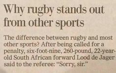 Why rugby stands out #respect