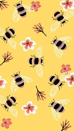 Flowers Vintage Illustration Yellow 41 Ideas For 2019 flowers 664984701209270015 Cute Wallpaper Backgrounds, Tumblr Wallpaper, Wallpaper Iphone Cute, Aesthetic Iphone Wallpaper, Cute Wallpapers, Aesthetic Wallpapers, Girly Wallpapers For Iphone, Bee Wallpaper, Trendy Wallpaper