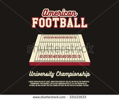 American Football university championship layout template. Usa Sports background. Can be use for brochure, flyer, poster. Field and text. Stylish design. Vector illustration