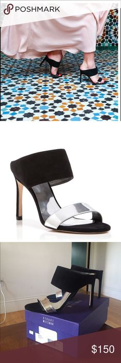 "NIB STUART WEITZMAN Black/Silver Myslide sz 10 Guaranteed Authentic. Org retail: $425. New, never worn, in box. Black suede mules, with silver toe band. ~4"" heels. Made in Spain. Open to offers through the offer button ☺️ Stuart Weitzman Shoes Sandals"