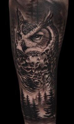 50 of the Most Beautiful Owl Tattoo Designs and Their Meaning for the Nocturnal Animal in You - awesome black & gray owl tattoo © tattoo artist Miroslav Art ❤❤❤❤ - Native Tattoos, Wolf Tattoos, Animal Tattoos, Owl Forearm Tattoo, Owl Eye Tattoo, Tattoo Designs, Owl Tattoo Design, Tattoo Ideas, Tattoo Drawings