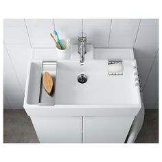 LILLÅNGEN Sink, white, Ceramic sink are admired for their smooth, durability beauty. Made with quality materials and the best manufacturing techniques, we proudly offer a warranty on all our ceramic sinks. Ikea Bathroom, Family Bathroom, Small Bathroom, Ikea Sinks, Bathrooms, Bathroom Gadgets, Ikea Lillangen, Wash Basin Cabinet, Armoire Pax