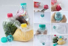 Recycling of Plastic Bottles: How to Close the Plastic Bag Using a Plastic Bottle Cap ? Reuse Plastic Bottles, Old Bottles, Water Bottles, Drink Bottles, Diy Hacks, Reusable Things, Plastic Bottle Caps, Plastic Bags, Ways To Recycle