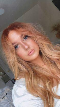 Ginger Hair Color, Strawberry Blonde Hair Color, Red Blonde Hair, Blonde Hair Red Underneath, Stawberry Blonde, Strawberry Highlights, Ginger Hair Dyed, Carmel Blonde Hair, Warm Blonde