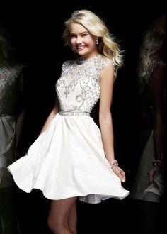 Sherri Hill 4300 - Ivory Beaded Short Homecoming Dresses Online