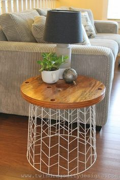 DIY Accent Table Using A Wire Basket And Cable Spool End