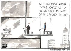 """""""Agency Pitch"""" cartoon from Tom Fishburne. How many of you have been in this situation? Marketing And Advertising, Social Media Marketing, Digital Marketing, Funny Advertising, Marketing Strategies, Work Stress, Social Business, Public Relations, Pitch"""