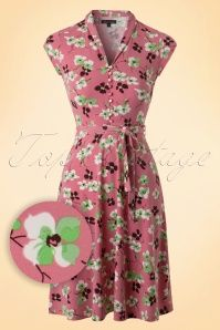 King Louie 60s Mellow Rose Pink Floral Dress  102 29 16637 20160215 0005W1