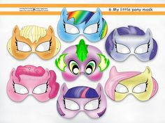 My Little Pony Printable Masks,party,birthday,prop,paper goods,invite | HolidayPartyShop - Clothing on ArtFire