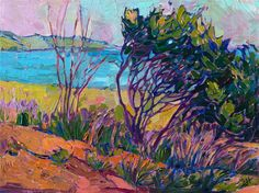 Coastal impressionistic original oil painting of Cambria California by Erin Hanson