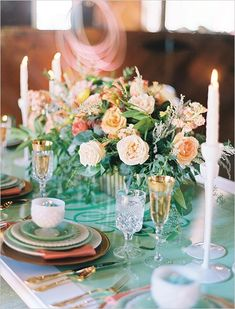 Peach, mint and gold wedding centerpiece ideas.