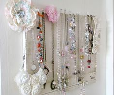 life in my studio- what a clever girl! This is a great idea for hanging necklaces,,,