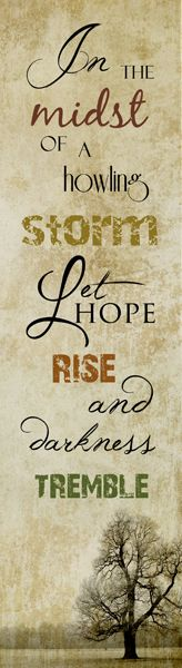 In the midst of a howling storm Let Hope Rise and darkness tremble.    Faith