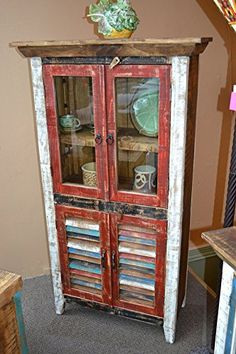 Crafters and Weavers Rustic Distressed Reclaimed Wood Curio, Glass Cabinet /Bookcase /Hutch Bookshelves, Bookcase, Vintage Bookshelf, Rustic Furniture, China Cabinet, Shelving, Vintage Items, Storage, Wood