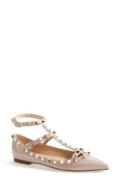 Free shipping and returns on Valentino 'Rockstud' Patent Leather T-Strap Ballerina Flat (Women) at Nordstrom.com. With a caged construction and signature studs, this pointy-toe patent-leather ballerina flat balances ladylike elegance with contemporary edge.