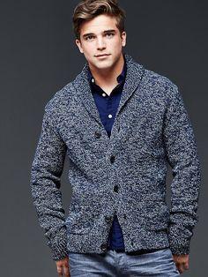 Ribbed marled shawl cardigan