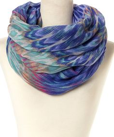 LA Double 7 Blue Watercolor Ikat Infinity Scarf -- wait, I actually have this!