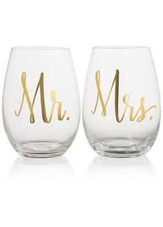 """Beautiful stemless wine glass set with gold foil and reads """"Mr."""" and """"Mrs."""" Perfect gift for your favorite newlywed wine lovers. Features and Facts:  18oz Glass Stemless Wine Set.  Measures: 3.5"""" x 5"""".  Material: Glass.  Dishwashing is not recommended. Hand wash with nonabrasive sponge."""