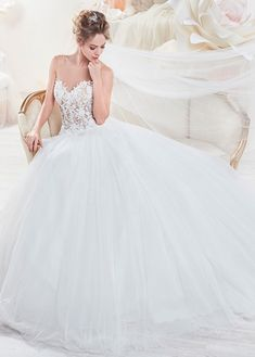 Bridesfamily Amazing Tulle Sheer Scoop Neckline See-through A-Line Wedding Dress With Beaded Lace Appliques Illusion Neckline Wedding Dress, Make Your Own Dress, See Through Dress, Beaded Lace, Lace Applique, Beautiful Bride, Tulle, Chiffon, Gowns