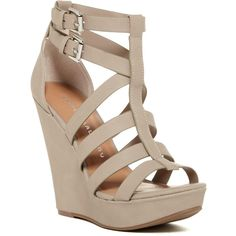 Chinese Laundry Mali Strappy Platform Wedge Sandal ($45) ❤ liked on Polyvore featuring shoes, sandals, mushroom, chinese laundry shoes, wedges shoes, wedge heel sandals, adjustable strap sandals and wedge sandals