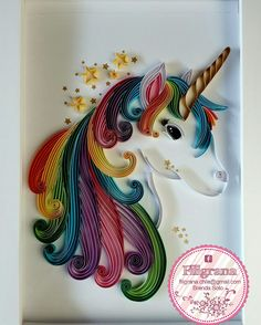#BrendaSoto #Unicornio #Unicor #Colores #filigrana #quilling #quilled #colores #arcoiris #arte #diseño #decoración https://www.facebook.com/RegalaConCarinoRegalaQuilling/