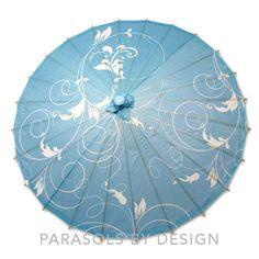 Blue Vines Paper Parasol Styles, Blue Vines Paper Parasol Design – Parasols by Design