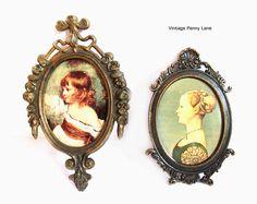 2 Vintage Italian Art Prints Fancy Brass Frames