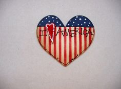 Patriotic Tole Painted Heart Shaped Magnet by barbsheartstrokes,
